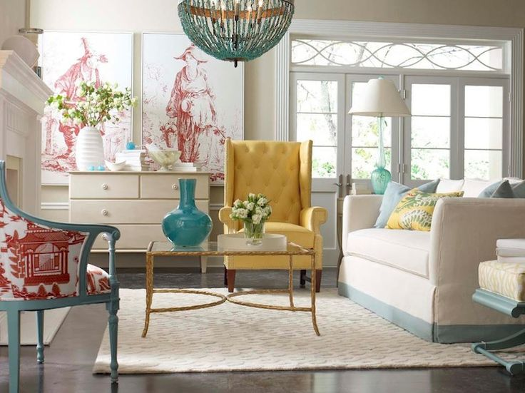 Colorful living room with turquoise yellow accents i for Fun living room chairs