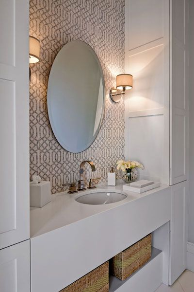 Love this wallpaper and the sconces!