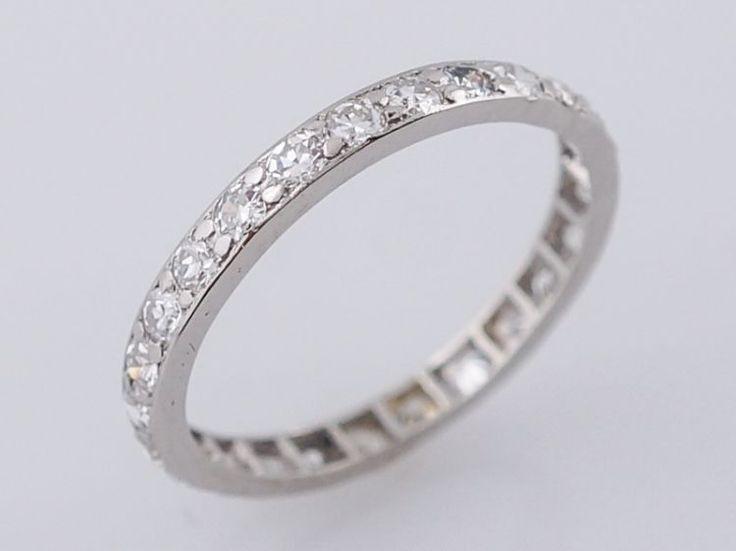 Antique Eternity Wedding Band Art Deco .50 Single Cut Diamonds in Platinum-Minneapolis, Minnesota www.filigreejewelers.com