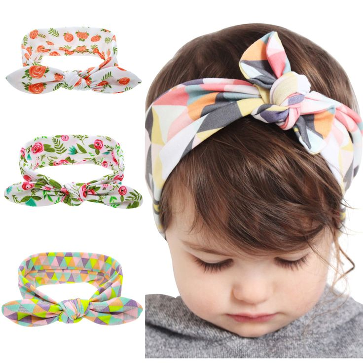 Three - color printing cotton knot rabbit ears hair band Floral and Geometric headband Hair Accessories KT060
