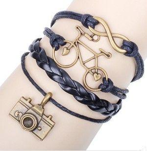 12 шт./лот горячий бесконечность камеры велосипедов кожаные браслеты винтажный стиль многослойные кожаный браслет ручной байкер ювелирные изделия LB070(China (Mainland))