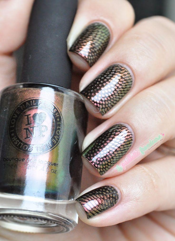 ILNP Nostalgia stamped over black polish ; Moyou London Pro XL 20 ; 9/9/14