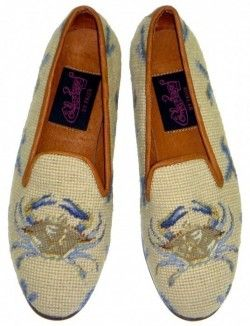 Crab on Tan Needlepoint Loafers by Paige