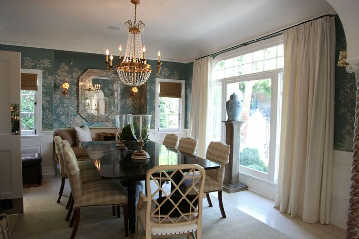 Hollywood hills home of mark d sikes aqua wallpaper for Mark d sikes dining room