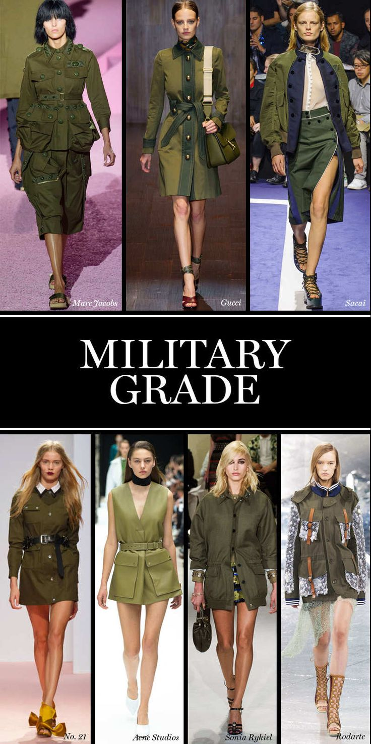 Military Grade A counterpart to the season's interest in free-loving bohemia, utilitarian, surplus styles in army green marched on the runways at Sacai, Marc Jacobs, and No. 21, among others. Look for a uniform of drab colors and exposed pockets next season.  Photo: Imaxtree
