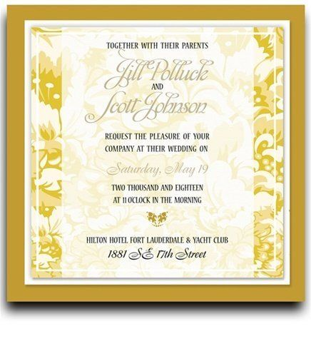 135 Square Wedding Invitations - Yellow Harvest Floral Jubilee by WeddingPaperMasters.com. $353.70. Now you can have it all! We have created, at incredible prices & outstanding quality, more than 300 gorgeous collections consisting of over 6000 beautiful pieces that are perfectly coordinated together to capture your vision without compromise. No more mixing and matching or having to compromise your look. We can provide you with one piece or an entire collection in a...