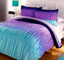 Aqua Blue Purple Ruffle Ruched Ombre Chevron bedding
