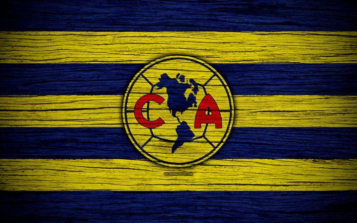 Download wallpapers Club America FC, 4k, Liga MX, football, Primera Division, soccer, Mexico, Club America, wooden texture, football club, FC Club America