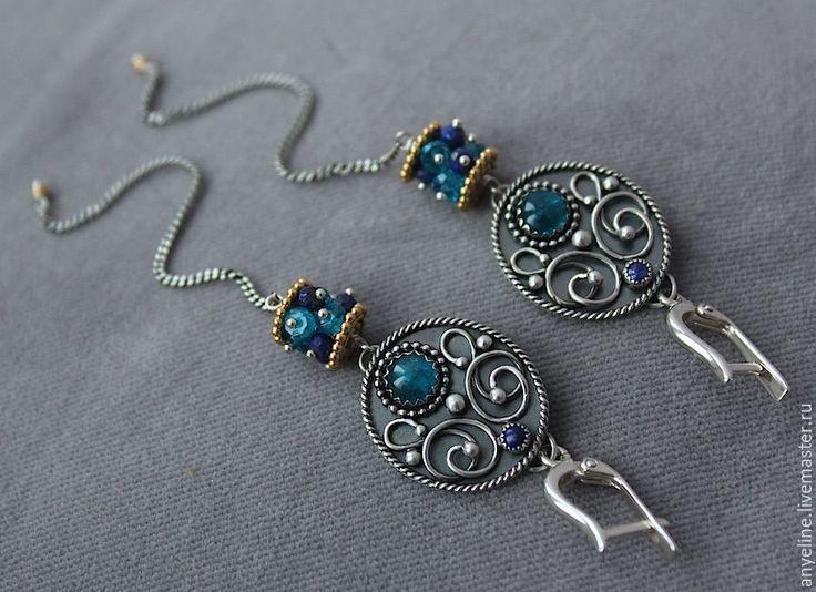 Купить Le Soleil D'Hiver - длинные серьги, голубые камни, серьги с камнями, серебряные серьги