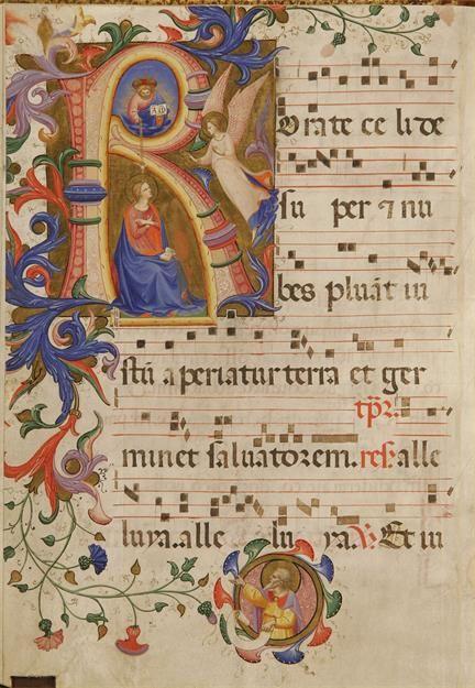 Annunciazione della Vergine e busto del Profeta Isaia nel clipeo del fregio autore: Beato Angelico  tecnica: tempera e pennello