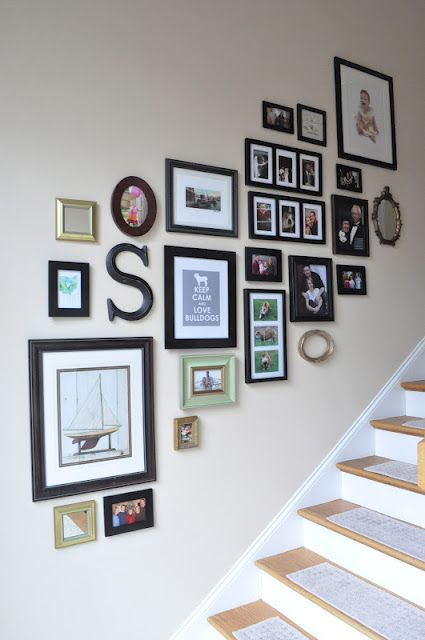 Gallery Wall & how to. Great tips on how to do a gallery wall for a staircase. Oooo, maybe our home will have a staircase so I can do this.