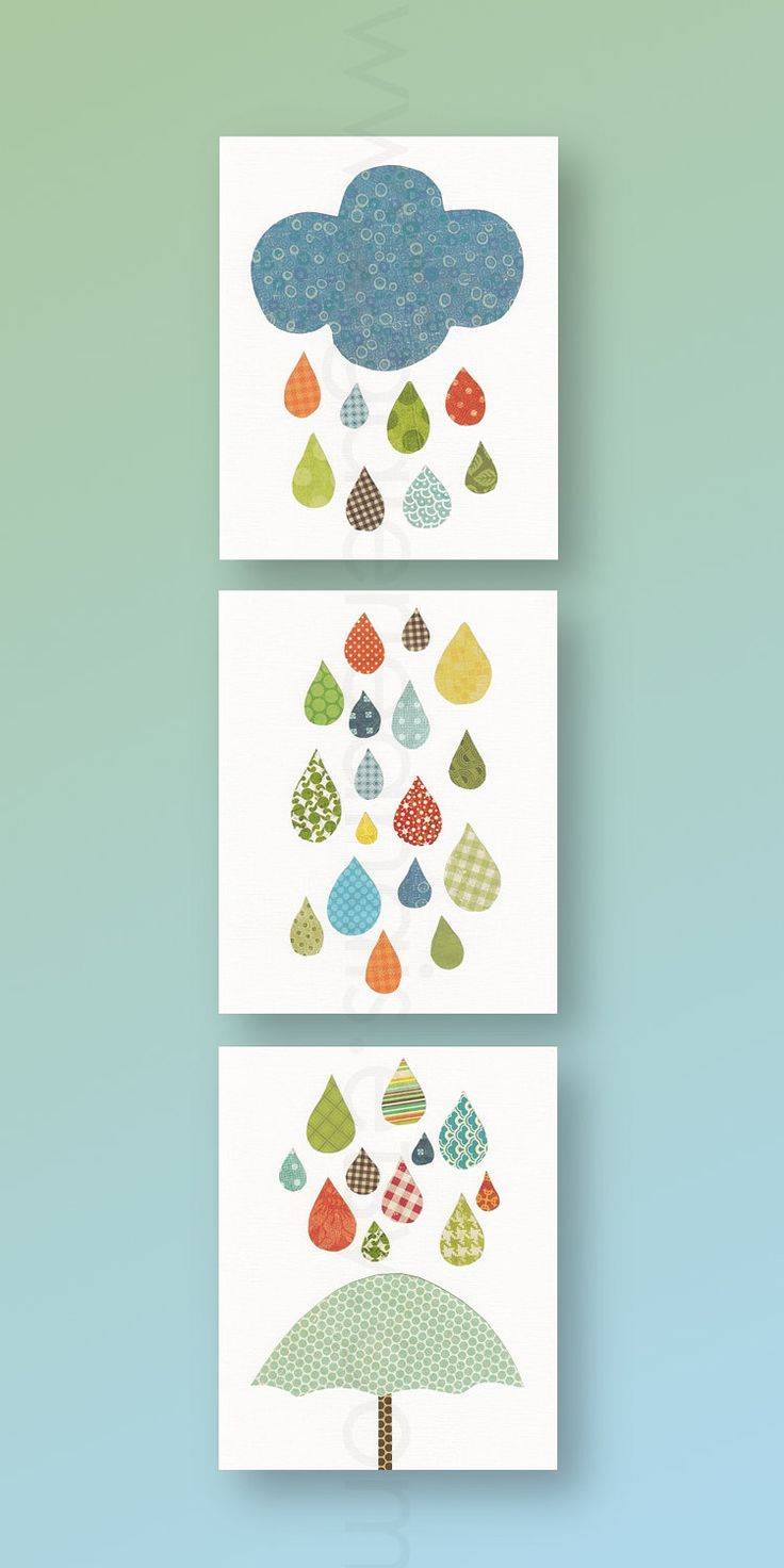 Nursery art, baby nursery decor, nursery wall art, umbrella. cloud, rain, colors, Set of 3 11x14 Prints - Raining Colors by GalerieAnais. $72.00, via Etsy.