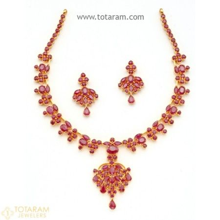 22 Karat Gold Rubies Necklace & Drop Earrings Set - 235-SET254 - Buy this Latest Indian Gold Jewelry Design in 42.000 Grams for a low price of  $3,007.99