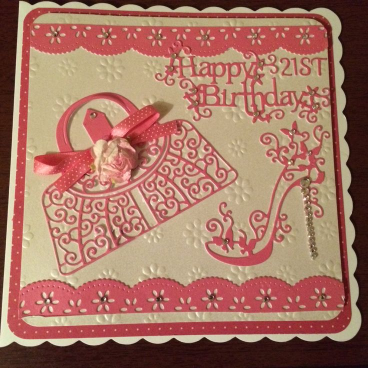 21st birthday card using free border dies from tattered lace magazine 17 & tattered lace shoe & handbag dies