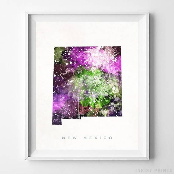 New Mexico Watercolor Map Wall Art Print - Prices from $9.95. Click Photo for Details - #giftideas#watercolor#map#christmasgifts #wallart #NewMexico