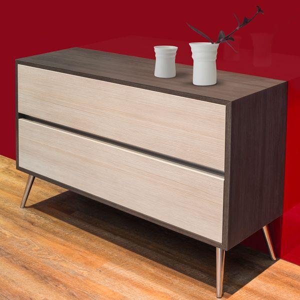 Muebles contemporáneos con un look retro enchapados en Formica.  ref. Grey Cedar 1465 en la tapa y estructura vertical y ref. Larice 3D 1461 en los frentes de cajón.  Conoce más entrando a www.formica.com.co #formica