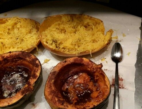 ... Spaghetti Squash and Baked Acorn with Maple Syrup cinnamon and nutmeg