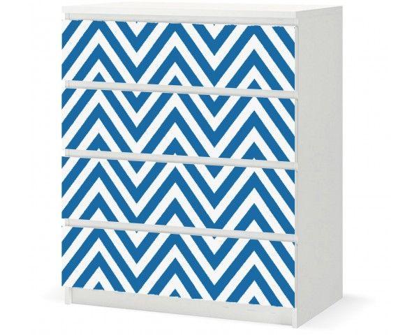 Vinyl Sticker › IKEA MALM 4d - Blue-White ZigZag / F005