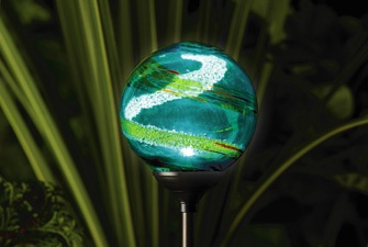 Solar Powered Garden Globe Light - Aqua  Another very popular solar garden light, delicate blues and green swirls in hand blown glass. £19.99