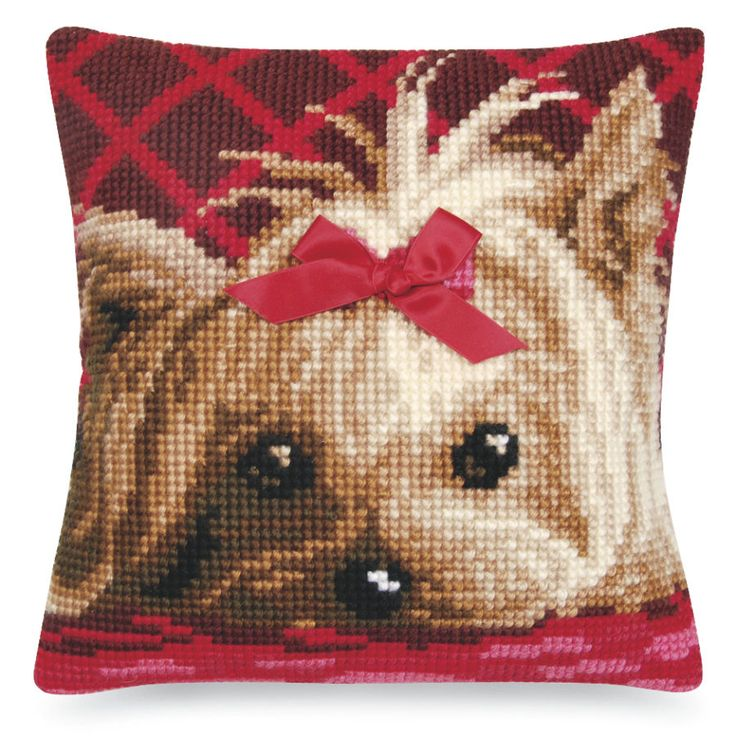 Yorkshire Terrier with Ribbon Pillow Top - Cross Stitch, Needlepoint, Stitchery, and Embroidery Kits, Projects, and Needlecraft Tools | Stitchery