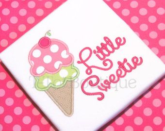 SALE - Little Sweetie Ice Cream Cone Embroidered Shirt or Bodysuit - FREE PERSONALIZATION