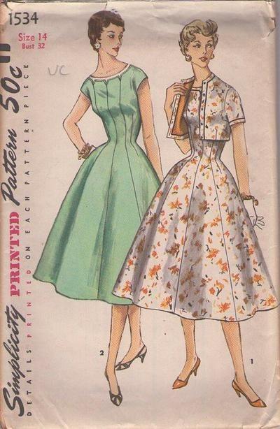 MOMSPatterns Vintage Sewing Patterns - Simplicity 1534 Vintage 50's Sewing Pattern STELLAR ROckabilly Flared Panels Cocktail Party Dress, De...