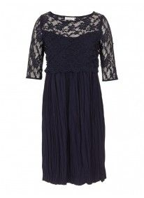 Lace dress with pleated skirt Navy