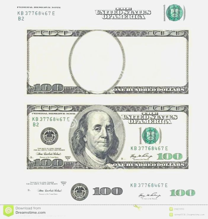 Dollar Bill Template Front And Back