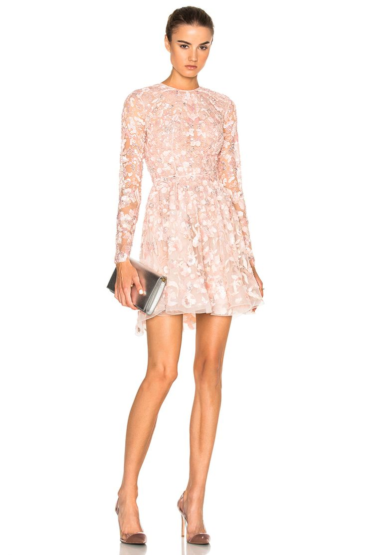 Image 1 of Zuhair Murad Embroidered Long Sleeve Mini Dress in Silver Peony Powder