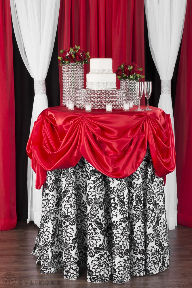 Red Satin & Black and White Damask Valentine's Day Cocktail Table