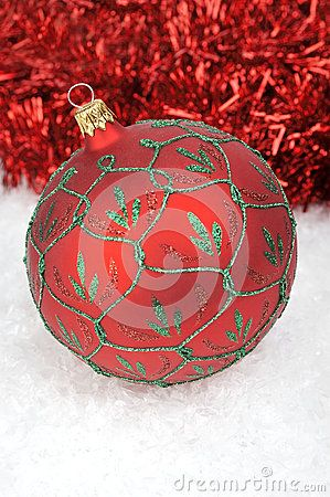 Red Christmas balls with chain