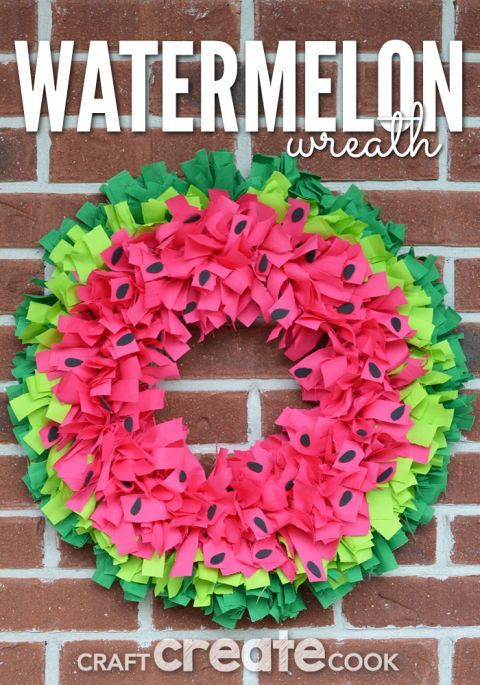 Watermelon Wreath: Easily recreate this adorable wreath by tying colorfulfabric strips to a wire frame.