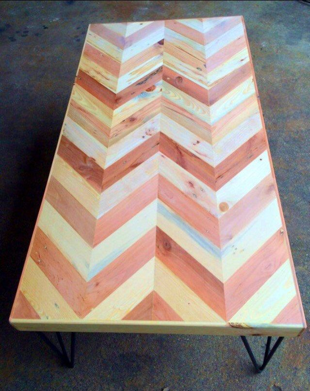 Herringbone Patterned Table Made From Reclaimed by RobertsonCheney