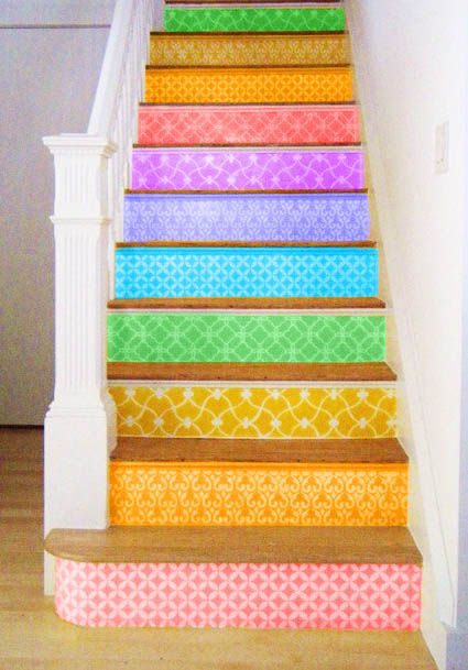 Colorful Stairs....idea for the dolls house makeover...