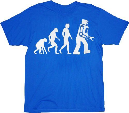 The Big Bang Theory Robot Evolution T-shirt Tee (Medium Blue)