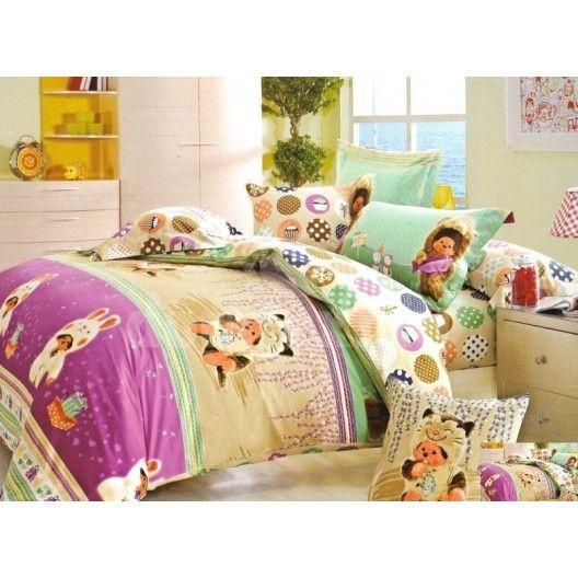 Detské posteľné obliečky s mačkami a zajačikmi
