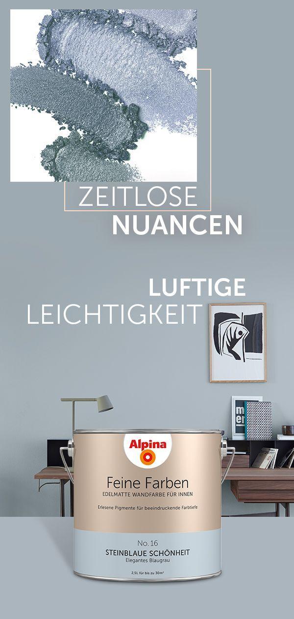Alpina Feine Farben Steinblaue Schonheit In 2020 Gray Painted Walls Blue Grey Walls White Vintage Mirror