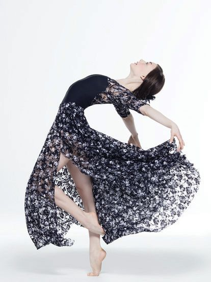 NEW! 2017 Collection Contemporary & Lyrical Costumes: Matte spandex leotard has soft stretch floral lace upper bodice and matching floral lace skirt with slit.  Includes flower hair clip, hanger and garment bag.