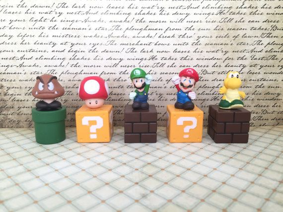 This Posting is for :  5 Pcs Medium Size Super Mario Blocks & Friends Cupcake Toppers /Cake Topper Set ~ Super Cute for Birthday Party, Party Favor, Loot bags, Cupcake Cake Toppers. Your kids will love these Party Favor Super Mario Figures Cake Toppers. Decorate it on the Cake/ Cupcakes and give to the kids to play afterwards! Wonderful gift for Super Mario Bros fans all around. Figures is about : About 2 - 2.25 inches tall / 5.08 - 5.71 cm tall    ----------------------------------   We…