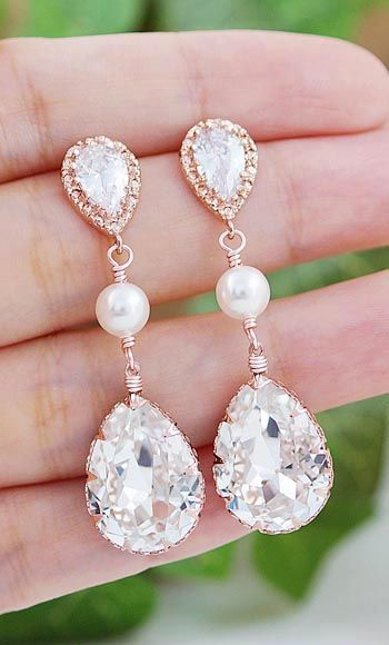 Swarovski Crystal with Pearls Rose Gold bridal Earrings from EarringsNation Rose Gold Weddings