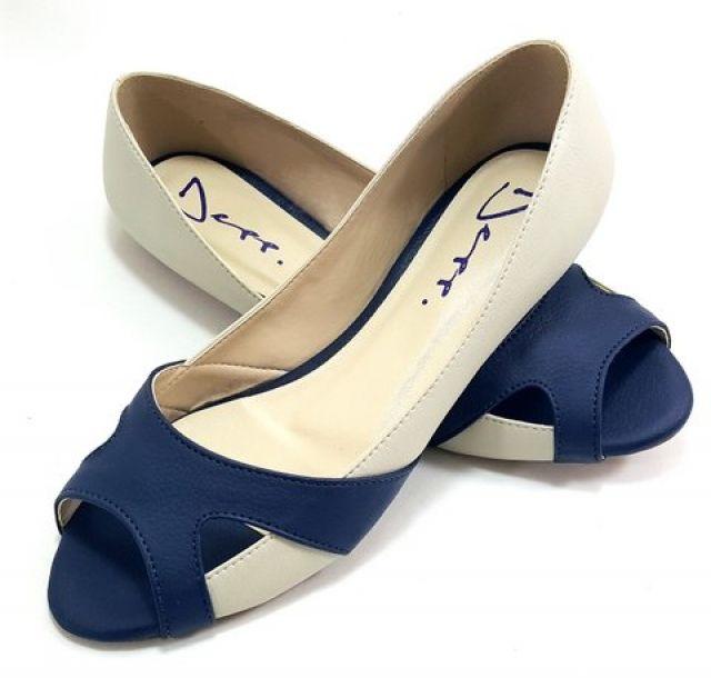 Sapatilha Peep Toe Feminino Bicolor Gelo com Marinho - Ref 2253033