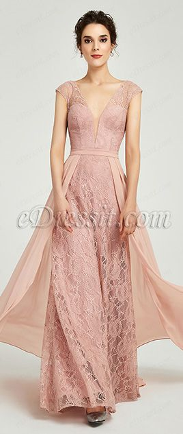 63dbfbb2f94c *Deep V-Cut *Built with bras *Cap Sleeves *overlay skirt *Zip back  *Overlace + Chiffon fabric *Full length with train(about 155 cm from  shoulder to the ...