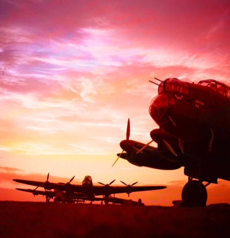 """historywars: """" Avro Lancaster Bombers preparing to take off for Germany """""""