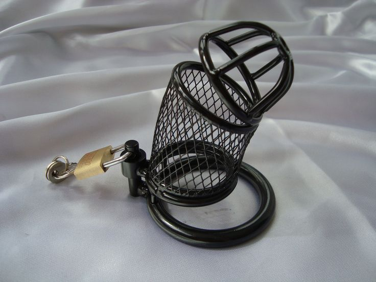Black Mesh Device £13.99 This sleek black cock cage is very visually appealing. It is strong but very lightweight, easy to use and keep clean.  The power of a chastity device lies in its ability to keep your male partner from achieving a complete erection. The Mesh cock cage is designed to make sure that no matter how aroused he gets, he won't be able to obtain that full hard-on that he craves www.fancyafetish.com