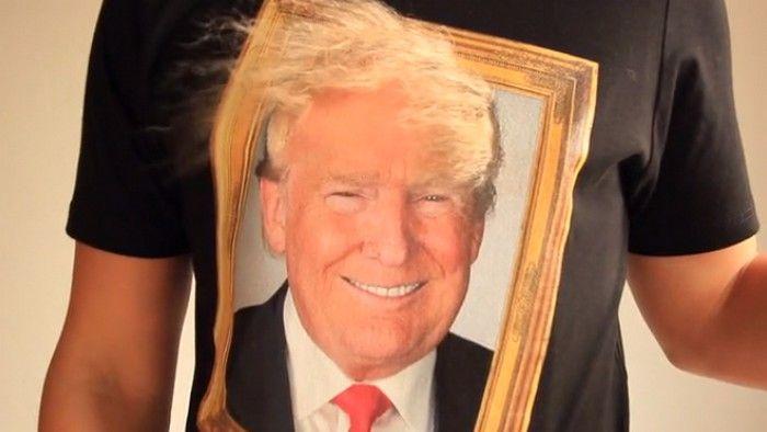 Un t-shirt Donald Trump en 3D avec de vrais cheveux
