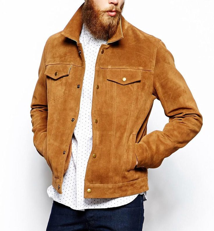 Men's Brown Suede Leather Jacket Slim fit Biker Motorcycle Size S M L XL XXL