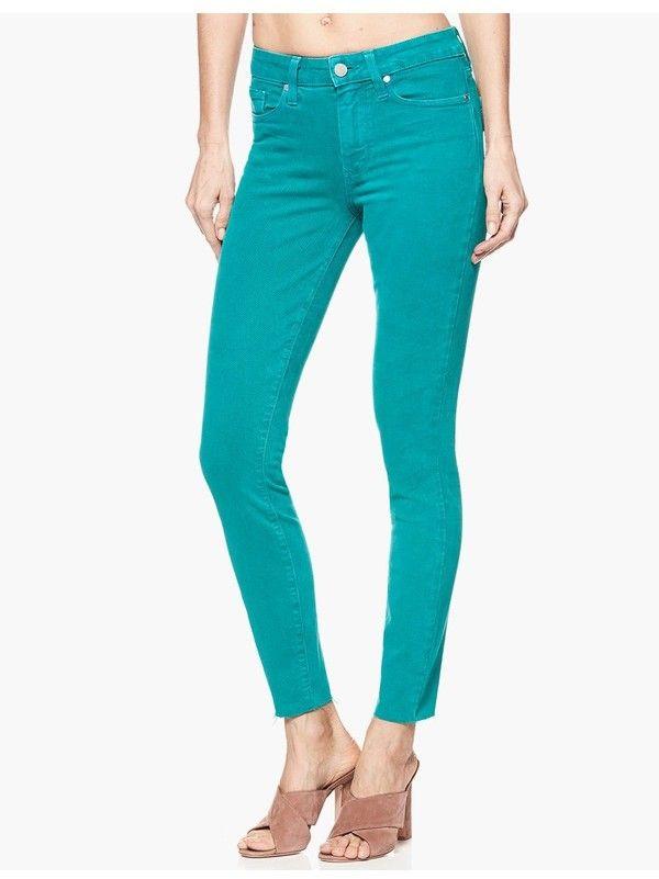 PAIGE PAIGE Hoxton Ankle Vintage Electric Teal Raw Hem Jeans Pants (affiliate) #teal #jeans #pants #blue #green #apparel #fashion #style