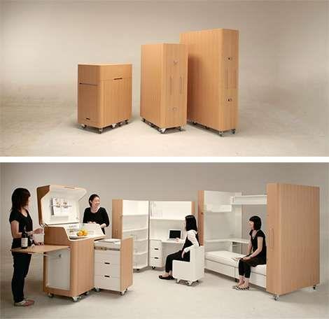 #Kenchikukagu Mobile Furniture #smallspaceorganization #smallspacedecor trendhunter.com  Like, pin, Share :-)
