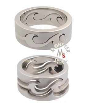 Beautiful three piece puzzle ring is as unique as they come. This awesome set is actually three rings that fit together to create one unique ring. This ring is crafted in a polished and matte stainless steel for an everlasting design that will never tarnish or fade. Stainless steel is hypo-allergenic and resistant to chemicals.