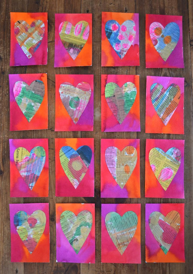 Valentines // Newspaper Heart Postcards paint newspaper one style, paint a back ground another style, then cut out shapes